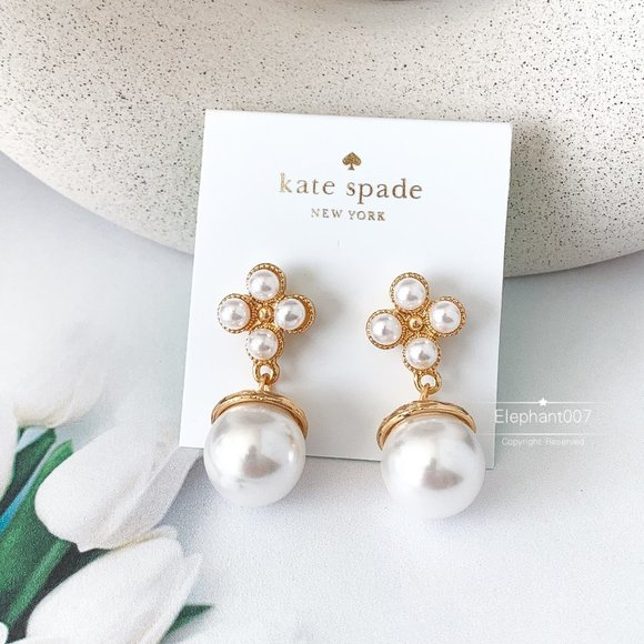 Kate Spade earrings gold pearl pendant earrings